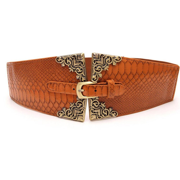 Retro Elastic Waistband Wide Belt For Women Wide Waist Belt Sweet Fashion Female Cummerbunds Female Dress Decoration