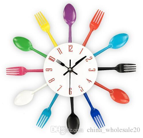 Free Shipping Cutlery Design Wall Clock Metal Colorful Knife Fork Spoon Kitchen Clocks Creative Modern Home Decor Antique Style Wall Watch
