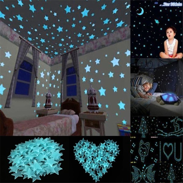 80 Pcs 3D Stars Glow In The Dark Luminous On Wall Stickers For Kids Room Living Room Bedroom Wall Decal Home Decoration Poster