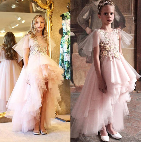 Lovely Pink High Low Tiered Flower Girl Dresses For Wedding Sheer Bateau Neck Toddler Pageant Gowns Appliqued Tulle A Line Kids Prom Dress
