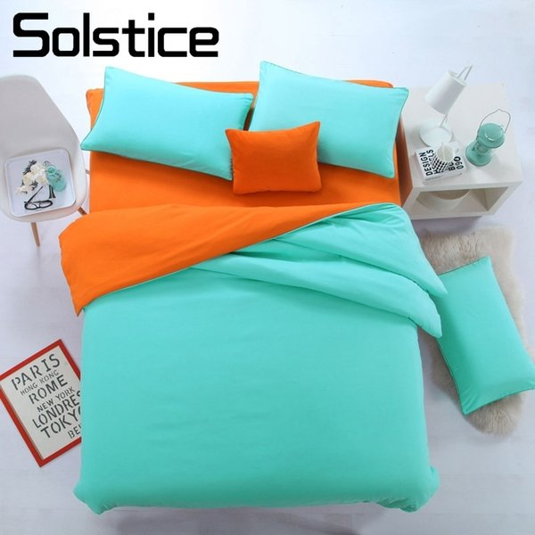 Solstice Home Textile King Full Duvet Cover Pillowcase Bed Flat Sheet Solid Cyan Orange Bedding Set Woman Teen Kid Girl Bedlinen