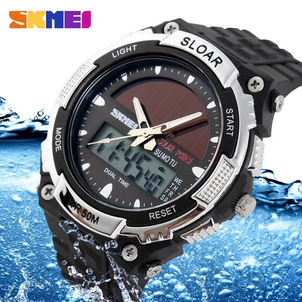 skmei brand solar energy men sports watches outdoor led watch fashion digital quartz multifunctional wristwatches 1049, Slivery;brown
