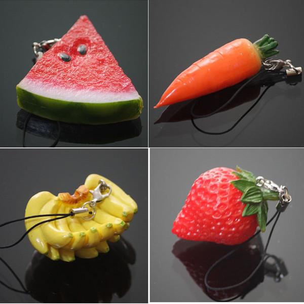 Mini Cute Fruit Keychain Simulation Fruit Cell Phone Charm Bag Keychain Pendant Decor Free Shipping