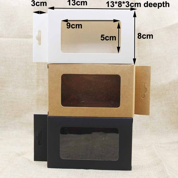 Packing Boxes black/kraft/white paper hanger window box gift box package for favors/mobile phone case/underwear display free shipping 50pcs