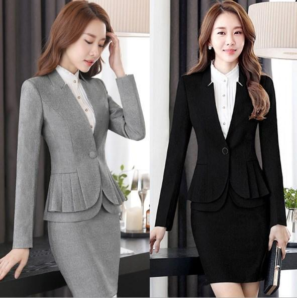Uniforme de oficina Designs Women Plus Size Work Outfit Conjunto de 2 piezas Blazer y pantalones / Faldas EleWoman Suit With Skirt Black Gray