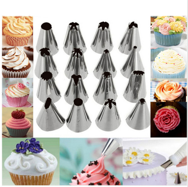 24pcs/set Stainless Steel Cake Decorating Icing Pastry Cream Piping Nozzles Tips Set DIY Cake Decor Tools
