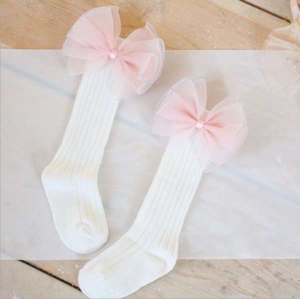 Kids Girls Bows socks knee high colorful pompon Butterfly princess socks handmade stripe Cotton Children stockings C3801