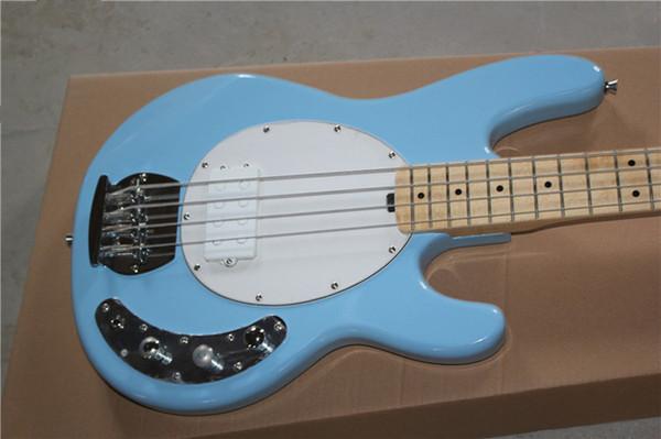 Arvinmusic Factory Custom Blue Guitare basse électrique 4 cordes avec matériel chromé, manche en érable, pickguard blanc et micro