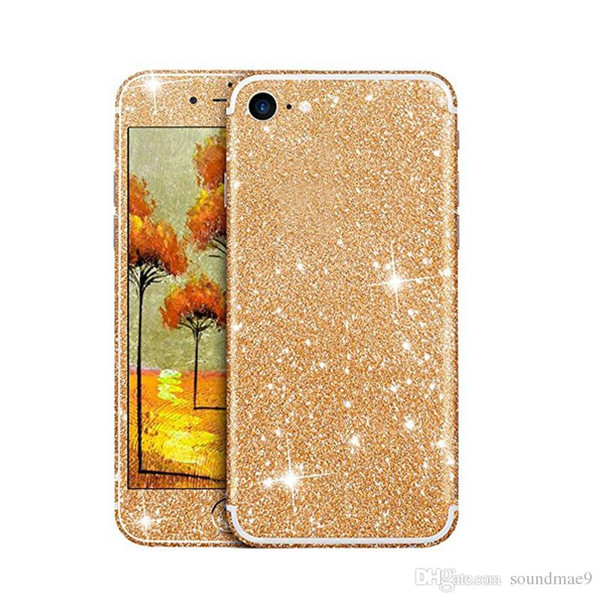 Glitter Phone Sticker For Iphone 7 6 6s Plus Sumsang S7 Huawei Bling Shining Soft TPU Colorful Front and Back Sticker With Retail Package