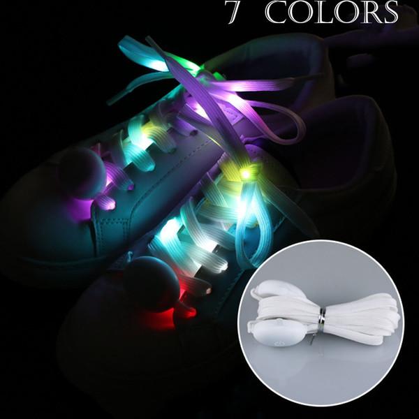 Moda LED intermitente cordones de los cordones cordones de los zapatos Platube Multi 9 Color Light up Party Glow Part Cool 120cm