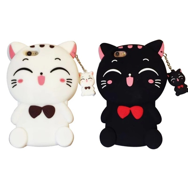 Cute Silicone 3D Cat Bow Case For iphoneX 8 8plus Case For iphone 7 7plus Cartoon Animal Lovely Rubber Phone Cases Back Cover