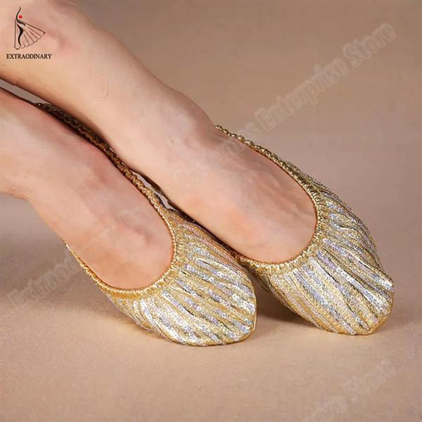 Kadın Oryantal Dans Aksesuar Uygulama Altın Pullu Ayakkabı Flats Yumuşak Pointe Jimnastik Katlanabilir Bale Düz Dans Ayakkabıları