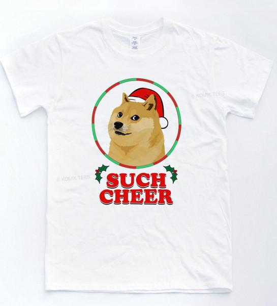 CHRISTMAS Doge Such Cheer T-shirt Funny Meme Wow Xmas Tee Tumblr Fresh Dog Top harajuku Summer 2018 tshirt