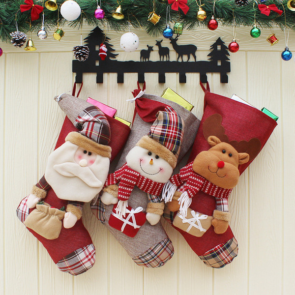 Christmas Gift Stockings Kids Gift Bags Candy Bag Santa Claus Xmas Tree Hanging Ornament Christmas Home Market Decoration Party