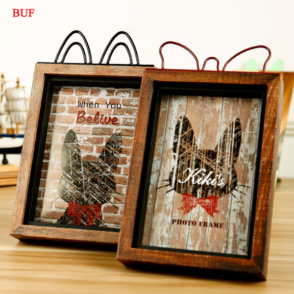 BUF Decoration Phpto Frame Wooden Picture Holder Frame Creative Gift Cat style Photo Ornament
