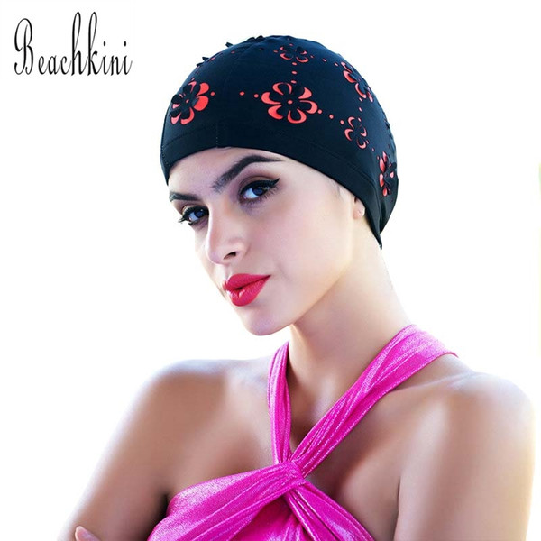Seaside Sports Mixed-color Swimming Beach wear Caps Elastic Fabric Protect Ears Long Hair Women Adult
