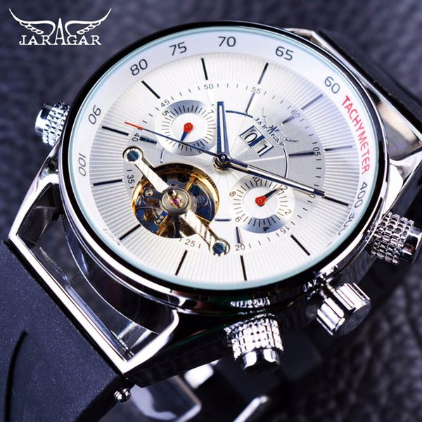 Jaragar Mens Brand Calendar Watches Top Luxury Date Automatic Fashion Sport Watch High Quality Silicone Band Tourbillion Shark Lines Design