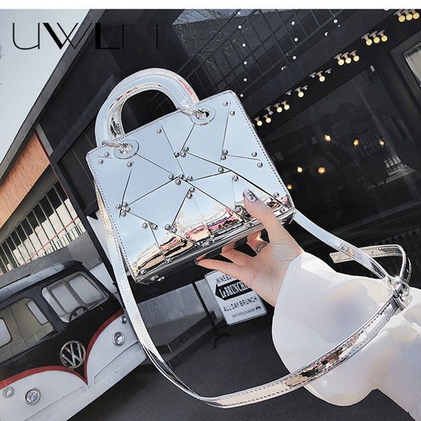 2018 Luxury Brand Messengers Bags Handbags Silver Party Wedding Clutch Bag Female Hologram Laser Patent Leather Crossbody Bag