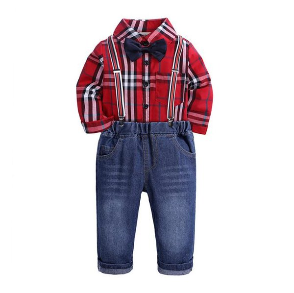 Toddler Boys Clothing Set Gentleman Suit Kids Red Bow Tie Plaid Shirt+Straps Jeans Pant Children Autumn Outfits