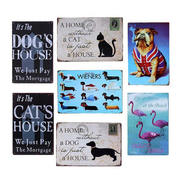 Moneky Hund Katze Pet Metall Blechschild Schwan Gans Eule Tiere Vintage Wandkunst Malerei Plaque Pet Shop Familie Home Wand Poster YN034