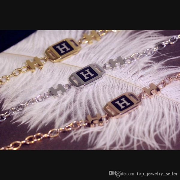 2018 high-quality H letter gold plated 16cm Bracelets non-decolored Link Europe and the United States high-end brand Chain