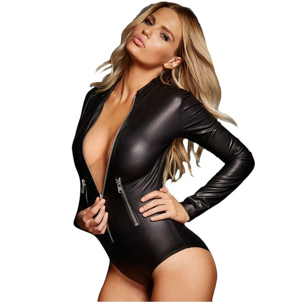 S - XXXL Plus Size PU Leather Sex Lingerie Sexy Long Sleeve Babydoll Dress Porn Lingerie Sexy Hot Erotic Costumes Teddy Underwear