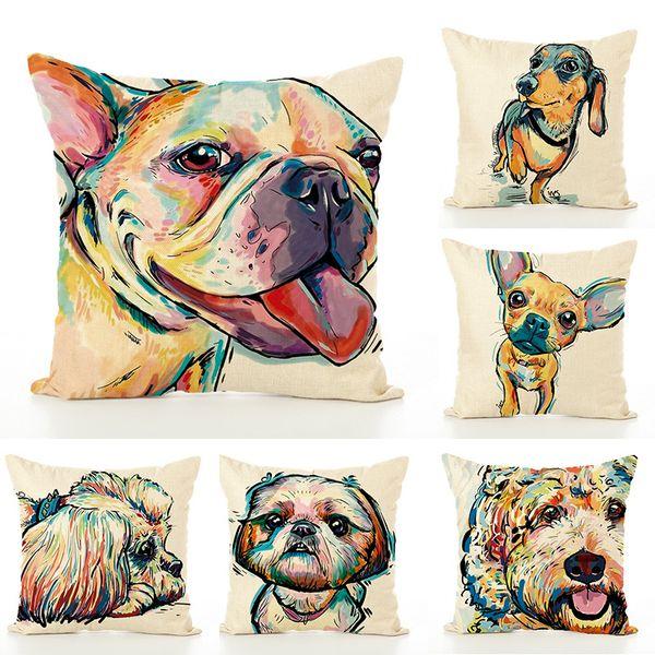Oil Painting Colors France Bulldog Pillow Case dog Cushion Cover Linen Cotton Throw Pillowcases Sofa Car Decorative Pillowcover 14colors