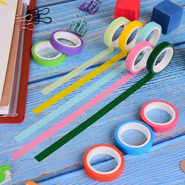 best selling 10pcs box DIY Scrapbooking Decoration Washi Tape Rainbow Color Masking Washi Sticky Paper Tape Adhesive Sticker 2016
