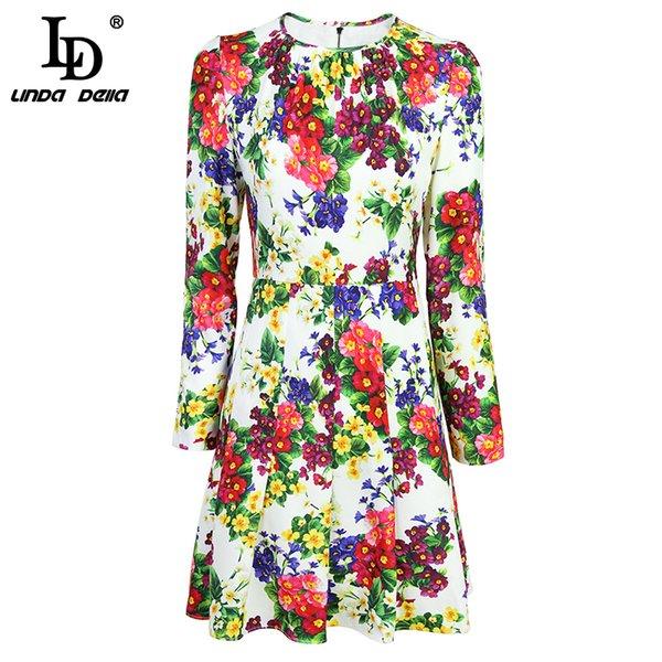 Großhandel LD LINDA DELLA 2018 Fashion Runway Floral Herbst Kleid Frauen Langarm Casual Blumendruck Elegante Party Kleid Vestidos Von Pileilang, $81.6
