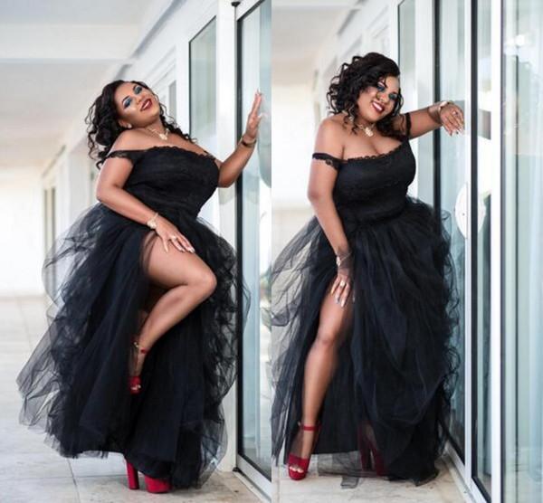 Seksi Siyah Artı Boyutu Gelinlik Yan Bölünmüş Tutu Tül Kapalı Omuz Ucuz Parti Elbiseler Kadın Örgün Seksi Afrika Abiye giyim