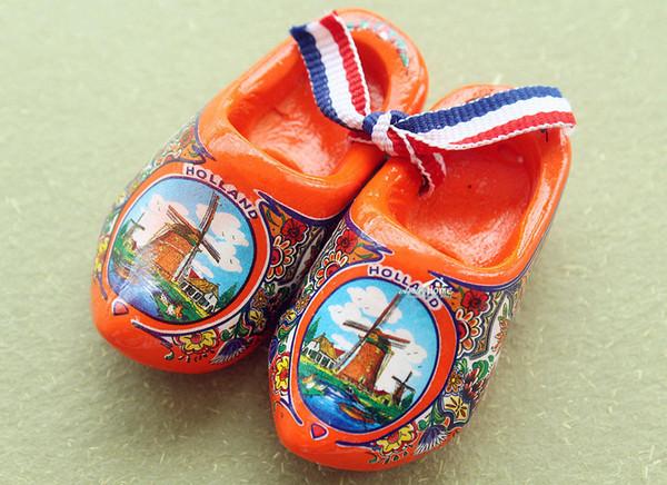 """2.5"""" Netherlands Holland Dutch Wooden Shoes Tourist Travel Souvenir Fridge Magnet Orange"""