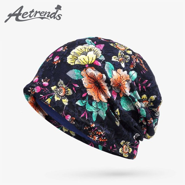 [AETRENDS] 2017 Autumn Lace Floral Beanie Hats for Women Thin Female Caps Slouchy Beanies Z-5345