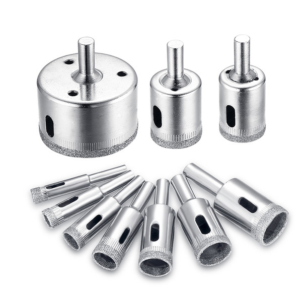 Freeshipping 10Pcs/lot Drill Bit Set 8-50mm Diamond Coated Core Hole Saw Drill Bits Tool Cutter For Ceramic Tiles Marble Glass Granite