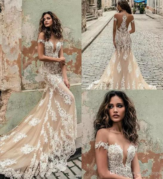 best selling Champagne Julie Vino Mermaid Wedding Dresses 2019 Off Shoulder Deep Plunging Neck lace applique trumpet Bridal Gowns Custom Wedding Dresses