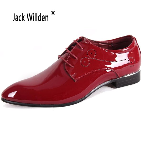 Jack Willden Moda Sapatos Oxford de Couro de Patente dos homens, Lace Up Sapatos de Vestido de Negócios Dos Homens Sapatos de Festa de Casamento Homem Berdy