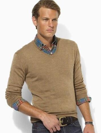 Luxury Winter Men Polo Sweater with Horse Cotton Solid Sweaters Classic Casual Knitwear Beige Blue