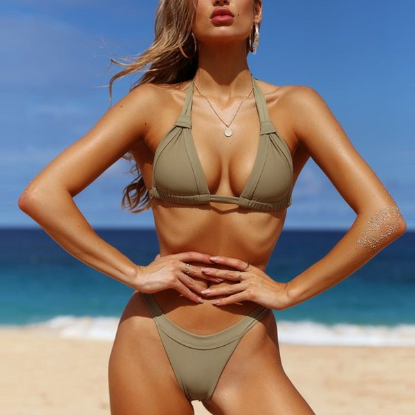2019 Sexy Bikini New Bandage Femmes Maillot De Bain Solide Maillot De Bain Femmes Split Maillot De Bain Halter Top Bikini Set Brésilien