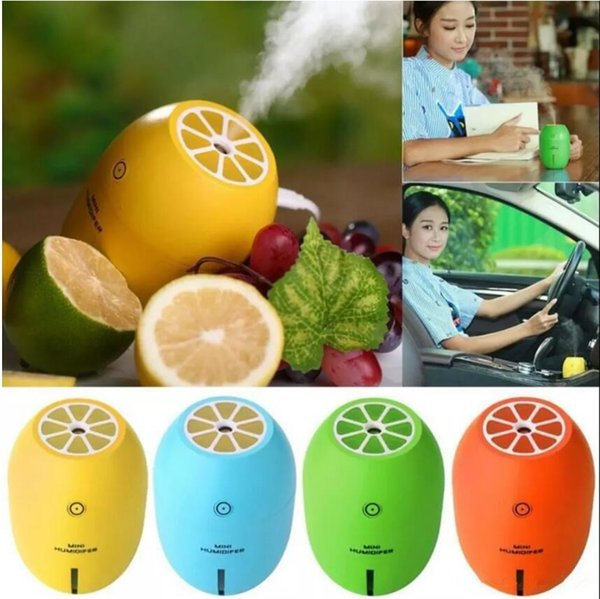 180ML Mini Lemon Ultrasonic Humidifier Air Diffuser Purifier Atomizer USB Portable Air Purifier Mist Maker For Home Office Car 100Pcs