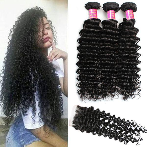 Brazilian Virgin Hair Deep Wave 3 Bundles With Free Part Closure 7A Grade 100% Unprocessed Human Hair Bundles with Closure Natural Black