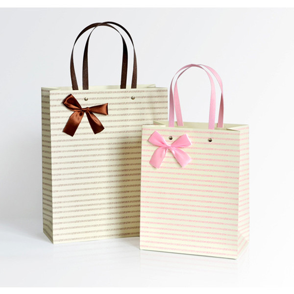 1pcs/lot Simple Stripe Birthday Party Decorations kids Wedding Gift Paper Paper Bags With Handles 2018 New Custom Mailing Bag