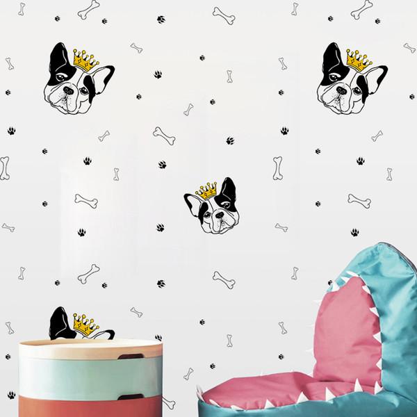 YQT075 Personalized Funny Creative Cartoon Dog head Bone DIY Wall Sticker Wallpaper Waterproof Removable Vinyl Decal Living Room Home Decor