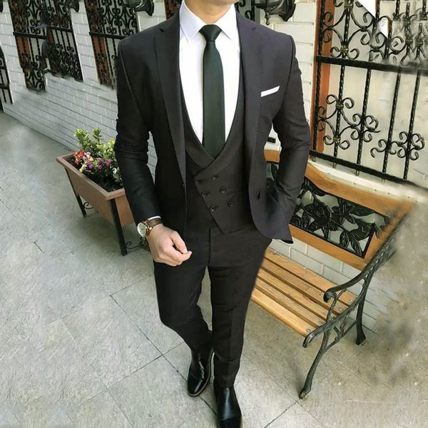 2018 New Arrival Double Breasted Men Suits Black Wedding Suits for Groom Formal Business Blazer Notched Lapel Slim Fit Best Man 3 Pieces