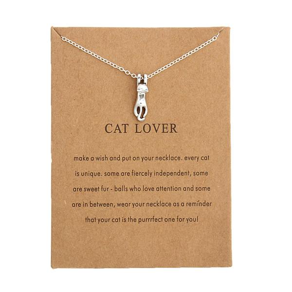 Colgante lindo del collar del amante del gato de la joyería de la manera para el regalo de las mujeres para las mujeres