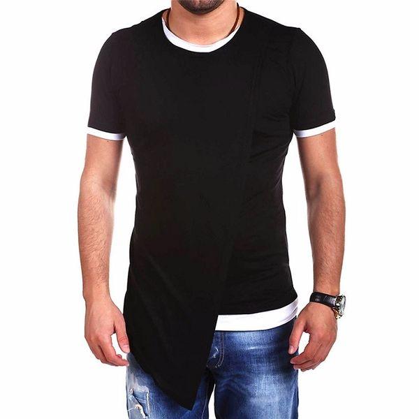 브랜드 의류 패션 긴 스타일 불규칙한 디자인 짧은 소매 T 셔츠 도매 남성 캐주얼 탑 남성 T 셔츠 거리 아시아 크기