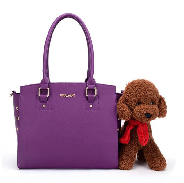 Fashion PU Leather Dog Bag Cat Bag Dog Carrier Tote Luggage Cat Traveling Portable Shoulder Bag Convenient Tote