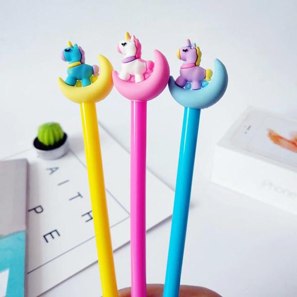 4 Stücke Kawaii Farbe Mond Einhorn Gel Stift 0,5mm Gelschreiber Schwarz Tinte Refill Kinder Geschenk Schreibwaren Büro Schulbedarf