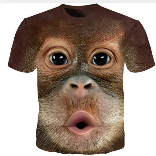 Summer Tee Tshirt da uomo 3D O Neck T-shirt manica corta animale T-shirt Funny Monkey 3D T shirt Homme S-5XL Uomo Donna Top