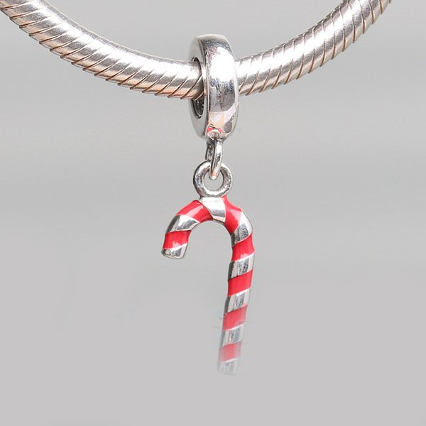 Authentic 925 Silver Beads Candy Cane Dangle Charm, Red Enamel For European Bracelet Bangle Diy Jewelry Gift