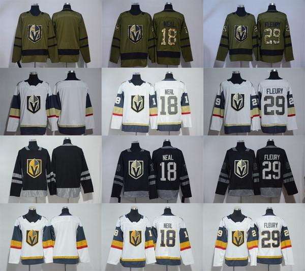 Nueva llegada 2018 Nueva marca para hombre Vegas Caballeros de oro 29 Marc-Andre Fleury 18 James Neal Blanco verde 100 camisetas negras de hockey