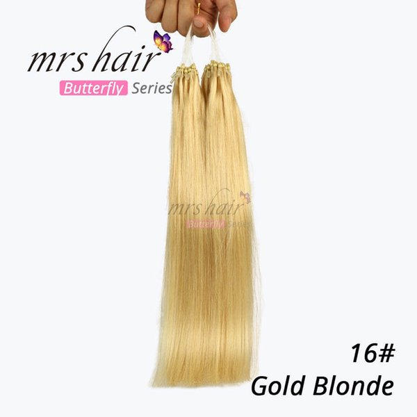 MRSHAIR # 16 Gold Blonde Mikroschleife Remy Haarverlängerungen 14 '' 20 '' 24 '' Brasilianisches Reines Haar Gerade Keratin Haar 50g / lot 1g / Strang